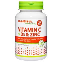 Vitamin C + D3 & Zinc, 100 caps.